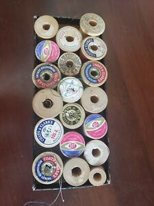 Vintage Thread Lot 19 All WOODEN Spools $24.99