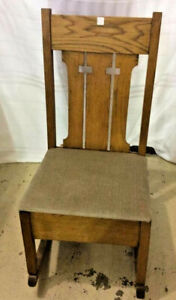 Mission Oak Rocking Chair with Sewing Drawer Antique Arts amp; Crafts Wood Rocker $399.99