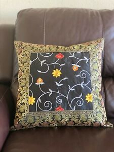 Pillow cover Case SilkBrocade 18 cover for 20 inch Pillow Embroidery Black