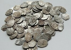 1613 1645 Russia Mikhail Fedorovich Romanov Wire Patina 1 coins Kopek silver $4.99