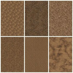 Lot of 6 Fat Quarters BROWN Color Prints Quilting Sewing Cotton FQ Fabric $17.25