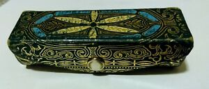 Vintage Leather Lipstick Case w Mirror Green Gold Ornate Made in Italy Italian $24.99