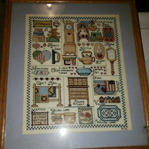Vintage Needlepoint Antique Sewing Wall Art $14.40