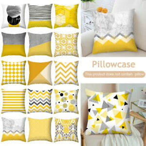 HOT Geometric Cushion Mustard Yellow and Grey Home Decor Sofa Case Cover