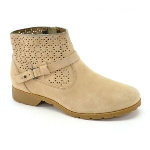 Womens Teva Delavina Waterproof Perforated Ankle Boots 7.5 M Tan Suede Booties $34.99