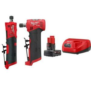 Milwaukee Straight and Right Angle Die Grinder Kit 1 4 in 12 V Battery Charger $463.62