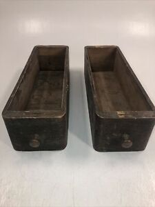 Set Of 2 Vintage Sewing Machine Drawers Wooden Boxes Rustic Antique Craft Decor $39.95