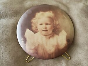 Vicotrian Antique Round Metal Sepia Photo of a Baby Columbia Portrait Chicago $36.99