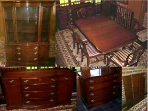 12 Piece Mahogany Dining Room Set Table 8 Chairs China Cab Buffet Sideboard
