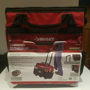 Husky 18 Inch 600 Denier Red Water Resistant Contractor's Rolling Tool Tote