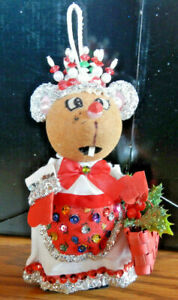 Vintage gramma Mouse Christmas Ornament Sequins Glitter Handmade kit? 6quot; Height $19.99