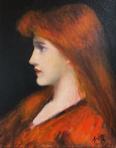 Symbolist Henner style portrait of a young woman oil painting 8x10 inches. GBP 189.00
