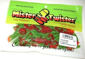 MISTER TWISTER 100 PACK 2 INCH TEENIE CURLY TAIL LURES LIME BLACK FLAKE RED TAIL