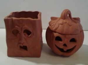 Pumpkin Halloween Fall Decoration Terra Cotta Lantern Luminarias New Old Stock A