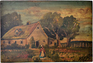 Paint Decorated Primitive Antique Box Signed Dated 1895 Country Scene $95.00