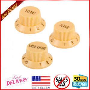 Cream Control Volume and Tone Guitar Knobs Fit Fender Strat Stratocaster $7.36