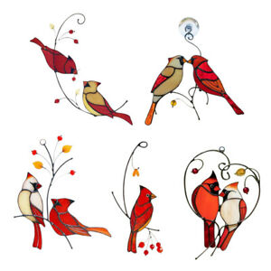 Pair of Cardinal Bird Stained Ornament Cardinal Stained Window Hangings Stickers