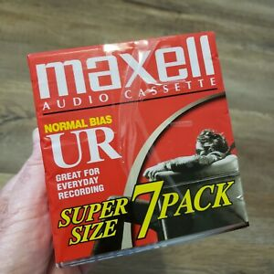 Maxell UR 90 Blank Audio Cassette Tapes 7 Pack 90 Min Normal Bias New SEALED $15.00