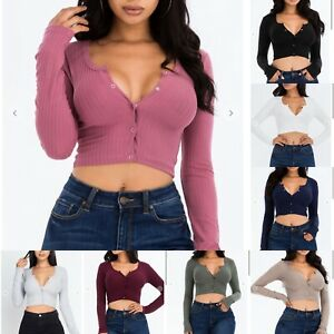 Sexy Long Sleeve Ribbed Knit Snap Button Scoop Neck Slim Cropped Cardigan Top $15.89