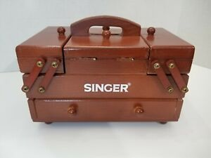 Unused Vintage Singer Wood Fold Out Accordion Style Small Wooden Sewing Box $68.95