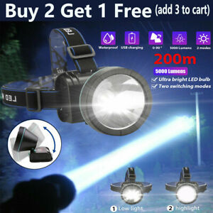Super Bright LED Headlamp Rechargeable Headlight 5000 Lumens For Hunting 2 Modes $13.99