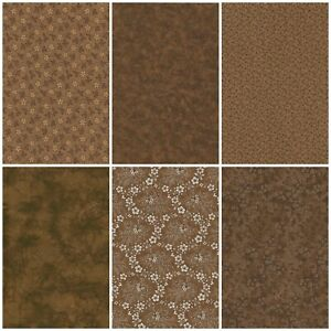Lot of 6 FAT QUARTERS in BROWN CHOCOLATE Quilting Sewing Cotton FQ Fabric $17.25