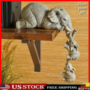Resin Elephant Sitter Figurines Set of 3 Mother and Two Babies Hanging Off Edge $14.24