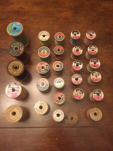 28 VTG WOODEN SEWING SPOOLS WITH THREAD COATS amp; CLARKS TALON CORTICELLI amp; OTH $15.49