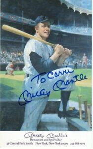 Mickey Mantle Signed Restaurant Postcard $199.99