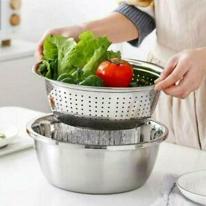 Multifunctional Steel Basin Chopping Grater Cutter Strainer Bowl New