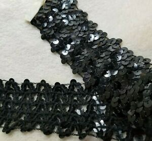 Sequin Trim Craft Sewing Black Embellishments 10 yards 1.75 inch wide $12.00