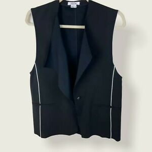 Helmut Lang Pierce Buttoned Origami Vest Black Size Medium Contrast Side Piping