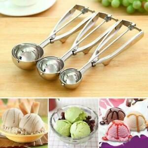 3PC Ice Cream Scoop Food Stainless Steel with Trigger Cookie Spoons Set SML