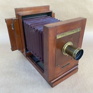 Antique Century Penny Picture 5x7 Wet Plate Wooden View Camera W Brass Lens $1399.30
