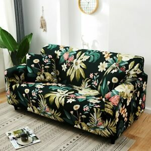 New Plant Print Sofa Cover Floral Tight Wrap L style Sectional Corner Sofa Case