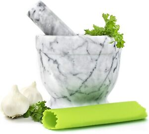 Gramercy Kitchen Company Marble Mortar and Pestle Set Beautiful Polished White