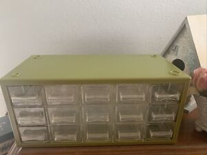 Vintage Sewing Storage Case Drawers Avocado Green 60's 70's $16.99