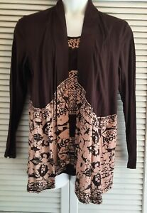 Chicos Womens Layered Top 2 in 1 Style Long Sleeve Batik Print Cotton Sz 2 or L $14.99