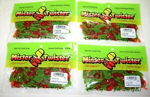400 MISTER TWISTER 2 INCH TEENIE CURLY TAIL GRUB LURES LIME BLACK FLAKE RED TAIL