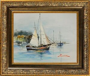Framed Oil Painting Suturing Seascape Signed by J Norton Morning at the Pier $195.00