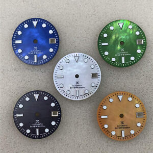 29MM Watch Dial w Green Luminous Dial for NH35 4R36 Automatic Watch Movement
