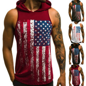 Mens Sleeveless Hooded Sport T Shirt US Flag Printed Workout Fitness Hoodie Tops $17.99