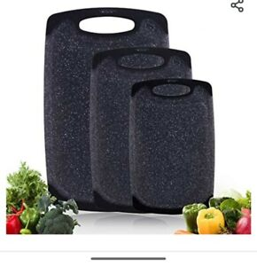 Gourmet kitchen Cutting Board set of 3 Black with Juice Groove non slip