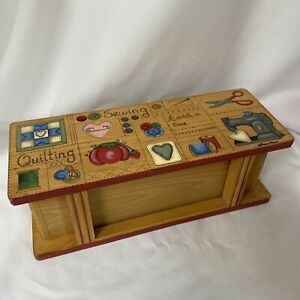 Wooden Sewing Box Drawer Cottage Farmhouse Core Quilt $14.99