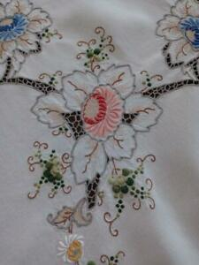 Vintage Madeira Embroidered Tablecloth Multi Color Floral Linen 49quot; $69.99