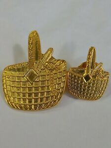 Sewing Baskets Lapel Hat Jacket Pin Lot Of 2 1988 Gold Color Metal Detailed $14.25