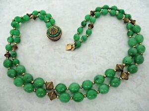 Schiaparelli Vintage Signed Green Beaded Lucite Necklace $110.00
