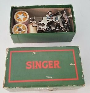 Vintage Singer Sewing Machine Parts 6 Attachments w Box 3 Spools of Thread $22.00
