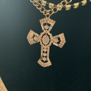 Large Pink Cross Necklace Gold Pink Rhinestones 2D
