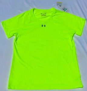 Under Armour Womens Highlighter Neon Yellow Athletic Stadium T shirt L NEW $16.99